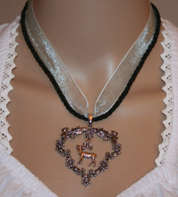 Dirndl necklace-Organza-Cord black-Deer-Pendant