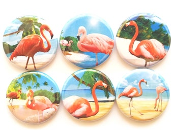 Flamingo Magnets Pink Flamingos Magnets Kitchen Magnets Beach Magnets Beach Decor Office Cubicle Decor Magnets Cute Fridge Magnets, 6/Set