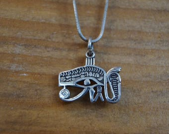 Egyptian necklace, vintage necklace, eye of horus, egyptian eye pendant, sterling pendant, magic pendant