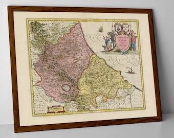 Abruzzo, old map of Pescara, Italy reproduction print | L';Aquila, Chieti, Teramo, Rieti, Pescara, Ripattoni Nuovo, Conaprato, Portacaldaia