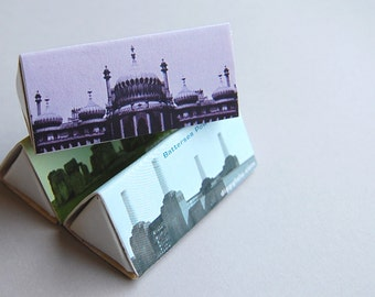 Hostess Anglophile gift -- British D-Lites -- Structures. Ste of three elegant triangle matchboxes. Great candle gift.