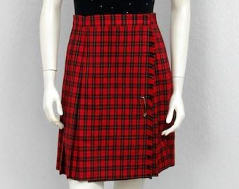 Vintage 80s Red Plaid Pleated Skirt, High Waisted Skirt, Pleated Plaid Skirt, Wool Skirt, School Girl Skirt, Short Skirt, Winter Skirt