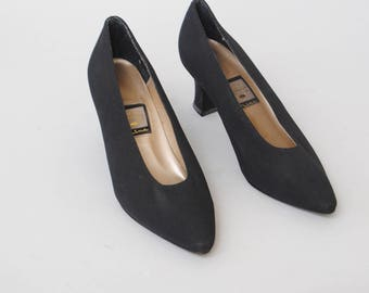 Vintage Shoes 80s Black Satin Nina New Look Black Pump Heels 6 M