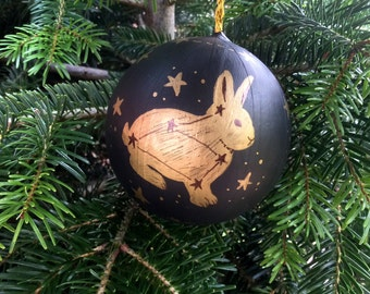 Christmas rabbit bauble