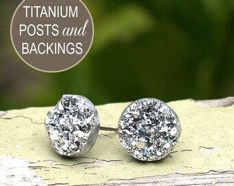 Faux Silver Druzy Titanium Earrings, Silver Glitter Posts, Imitation Drusy Earrings, Metallic 12mm, Minimalist