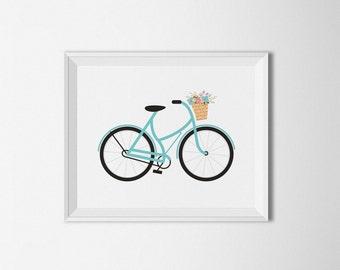 Bicycle printable, Boho decor, Bike printable, Nursery decor, Floral Bike, Bohemian Wall art, Home decor, Flowers print, bike wall art