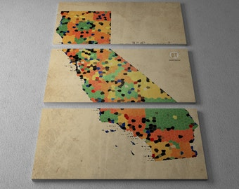 California State County Map Gallery Wrapped Canvas Triptych Print
