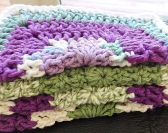 Crochet 100% Cotton Handmade GrannySquare Washcloth/Dishcloth Set of 4-Multi Colored