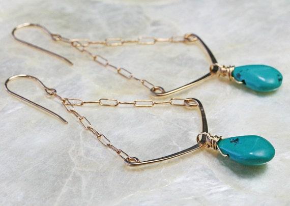 Turquoise Earrings - Chevron Earrings  - Hammered Gold Earrings - Dangle Earrings