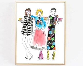 "Fashion Illustration Print ""Eat Cake and Wear Marc Jacobs""  Art Print, Fashion Illustration, Home Decor, Boutique Print, Vanity Art"
