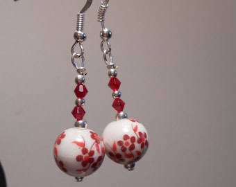 Red Flower Glass Earrings Item No. 693