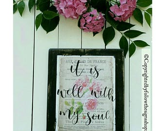 it is well with my soul / it is well with my soul sign / scripture wall art / scripture art / scripture signs / wood signs sayings / 13x11