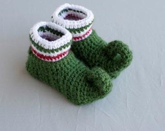 Elf Booties, Elf Baby Shoes, Elf Shoes, Christmas Shoes, Holiday Boy Shoes, Crochet Elf Shoes, Boy Shoes, Boy Booties, Photo Prop.