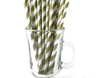 25 Gold Stripe Paper Straws | Gold Party Straws | Gold Drinking Straws | Gold Craft Straws | Striped Paper Straws | Gold Stripe Straws