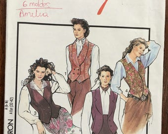 Style Sewing Pattern 1766 UNCUT Misses' lined Waistcoat / Vest SIZE: A 6-16