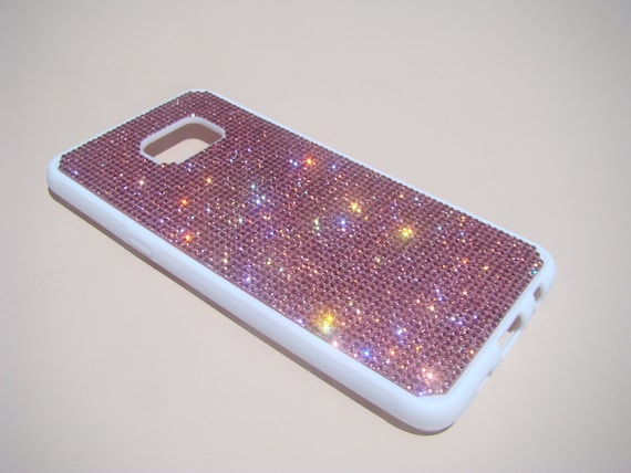 """Galaxy S6 """"Edge Plus"""" Pink Diamond Crystals on White Rubber Case. Velvet/Silk Pouch Bag Included, Genuine Rangsee Crystal Cases."""