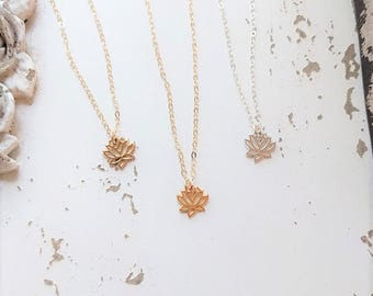 Tiny Lotus Necklace, Lotus Flower Charm, Sterling Silver, Tiny Charm Necklace, Dainty Necklace, Yoga Jewelry, Charm Necklace