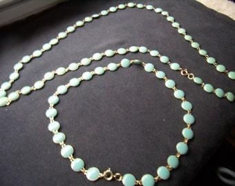 Vintage Aqua/Blue Enameled Bead Necklaces
