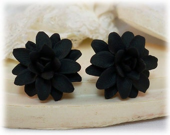 Black Dahlia Earrings Stud or Clip On - Dahlia Jewelry