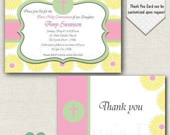 Pink First Communion Invitation - Girl First Comunion - Pink Floral Religious Invite - Yellow Flowers Invitation - Baptism Invite