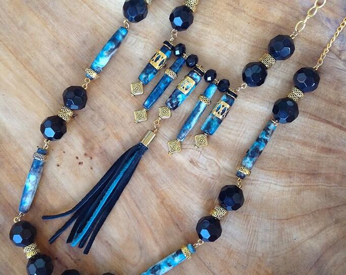 STUNNING Handmade Boho Necklace, Tribal, Festival, Dyed Bone, Statement, Sexy, Unique, Ethnic, Native, (The Beautiful Samurai Necklace)