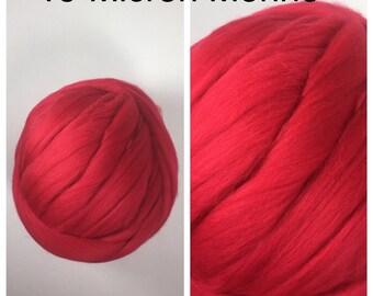 Red Merino Top / 19 Micron Merino Roving / Scarlet Merino Felting / Superfine Merino / 2oz 4oz 8oz
