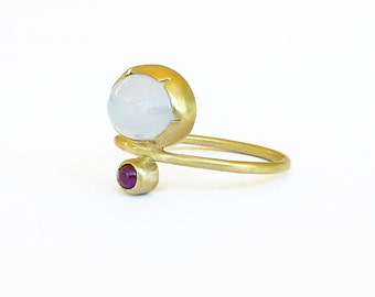 Chalcedony Ring Gemstone Ring Gold  Double Stone Ring Thin gold ring