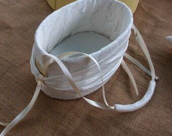 Oval Flower Girl Baskets-soft ribbon handle