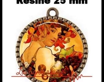 Bronze round Cabochon 25 mm epoxy resin - fruit Mucha Pendant (32) - Alphonse mucha