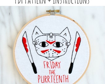 PATTERN: Friday the Purrteenth Hand Embroidery Pattern with Instructions