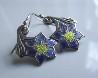 Flower Clematis enamel ear rings