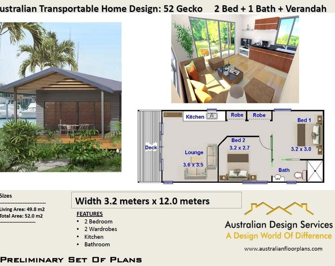52 Gecko 52 m2 | 2 Bedroom | 2 small home design - Concept House Plans For Sale