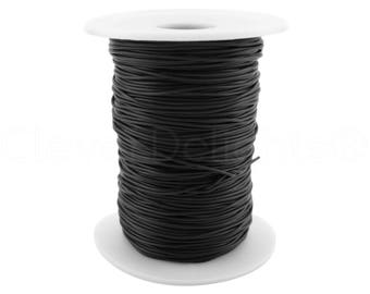 """50 Yds - Solid Rubber Cord - 1mm (1/32"""") - Black Color - Premium Solid Rubber Cording - For Beading, Jewelry, Crafts, Necklaces"""