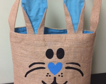 Personalized Easter Basket, Personalized Easter Bag, Burlap Bunny Bag, Burlap Easter basket, Easter Bunny Bag, Bunny Ears, Easter Tote