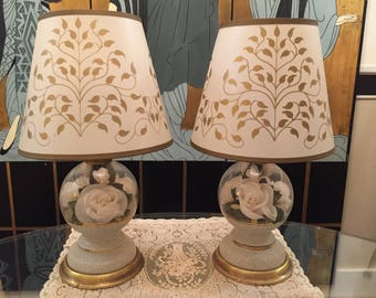 Vintage glass flower globe boudoir lamps with shades