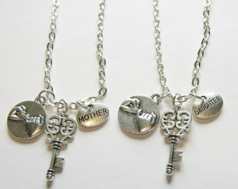 2 Mother Daughter Are The Key To My Heart Pinky Promise Pinky Swear  Necklaces