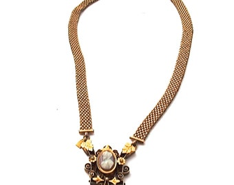 Antique Necklace Victorian Cameo Mesh Chain Gold Filled Antique 1870s