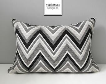 Black White Chevron Pillow Cover, Decorative Grey Outdoor Pillow Case, Modern Geometric Pillow Cover, Gray Sunbrella Cushion Cover