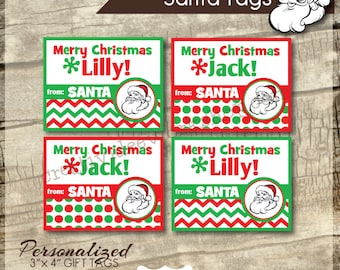 Printable Santa Tags - Santa Gift Tags -  Personalized Santa Tags - Dots and Chevron