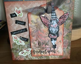 Handmade Collage Tag Card - bold and beautiful