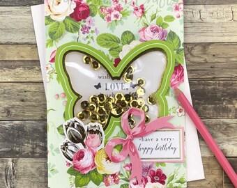 Very Happy Birthday Butterfly - Wishing You Love - Stunning Shaker Card