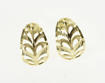 10k Domed Rounded Scroll Pattern Textured Post Back Earrings Gold