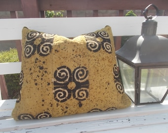 African mudcloth  Mustard Tribal Black white details mud cloth pillow cover