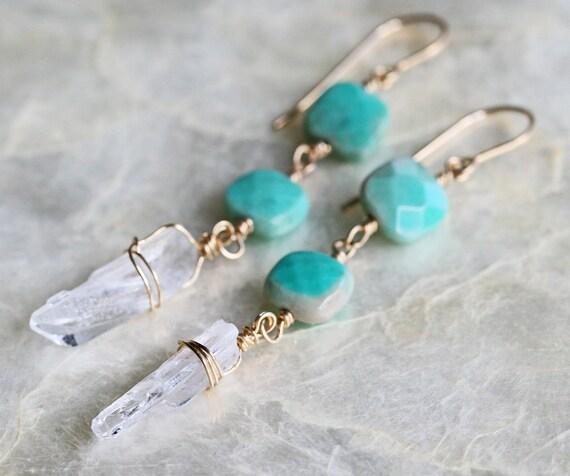 Crystal Point Earrings - Dangle Earrings - Chrysoprase Earrings - Crystal Earrings - Drop Earrings - Gemstone Earrings - Green Earrings