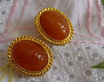 Vintage  scarab clip-on  carnelian stone earrings