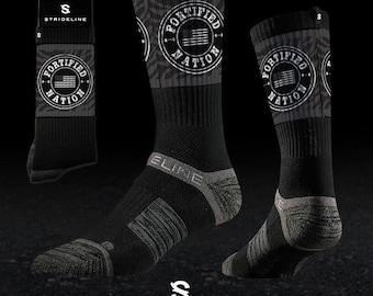 Fortified Nation Strideline Crew Socks - Black
