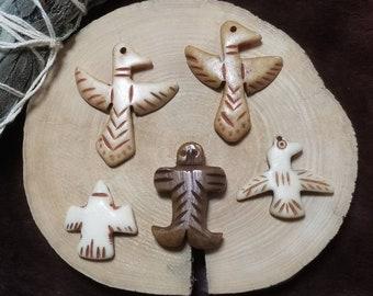 5pc Assorted Bone Thunderbird Pendants
