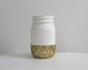 Bright White + Gold Glitter Mason Jar