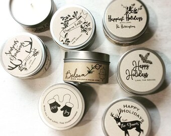 12 custom candle christmas gifts / bulk christmas gifts small co workers holiday client gifts christmas party favors co-worker business