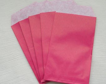 20 bags gift 12 x 7 cm in fuchsia pink kraft paper